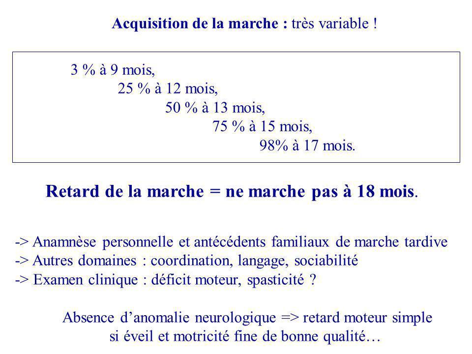 -> Anamnèse personnelle et antécédents familiaux de marche tardive -> Autres domaines : coordination, langage, sociabilité -> Examen clinique : déficit moteur, spasticité .