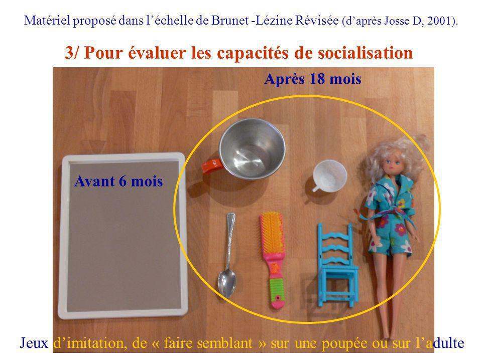 3/ Pour évaluer les capacités de socialisation Matériel proposé dans léchelle de Brunet -Lézine Révisée (daprès Josse D, 2001). Avant 6 mois Après 18