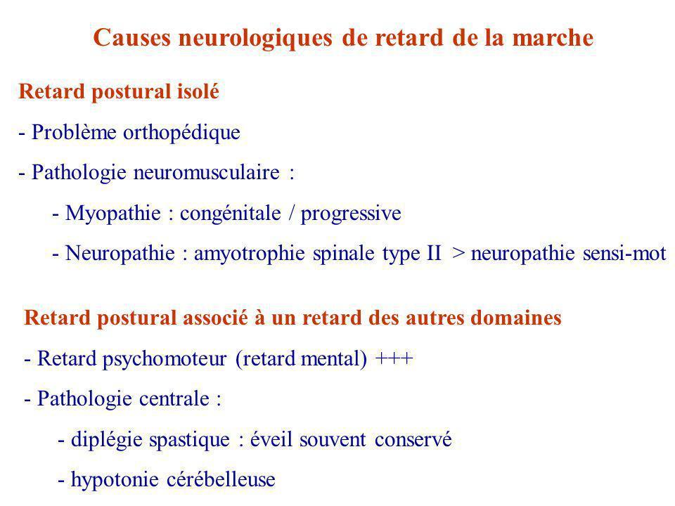 Causes neurologiques de retard de la marche Retard postural isolé - Problème orthopédique - Pathologie neuromusculaire : - Myopathie : congénitale / progressive - Neuropathie : amyotrophie spinale type II > neuropathie sensi-mot Retard postural associé à un retard des autres domaines - Retard psychomoteur (retard mental) +++ - Pathologie centrale : - diplégie spastique : éveil souvent conservé - hypotonie cérébelleuse