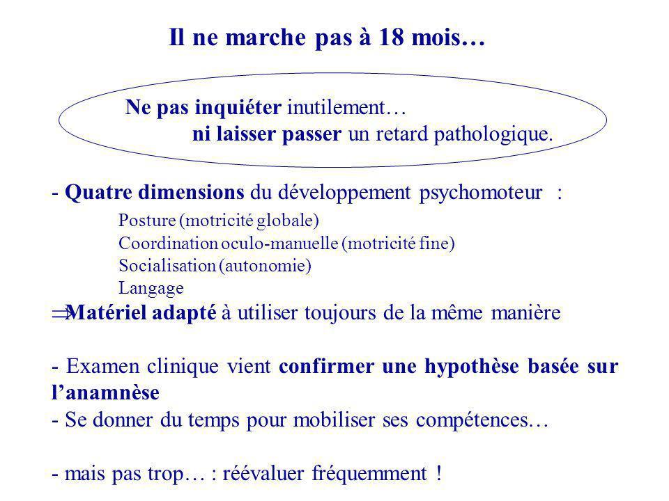 - Quatre dimensions du développement psychomoteur : Posture (motricité globale) Coordination oculo-manuelle (motricité fine) Socialisation (autonomie)