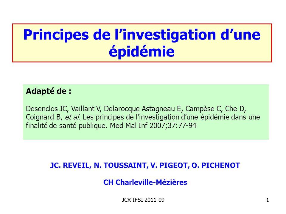 JCR IFSI 2011-0912 Caractéristiques de temps Source commune ponctuelle : TIAC à norovirus.