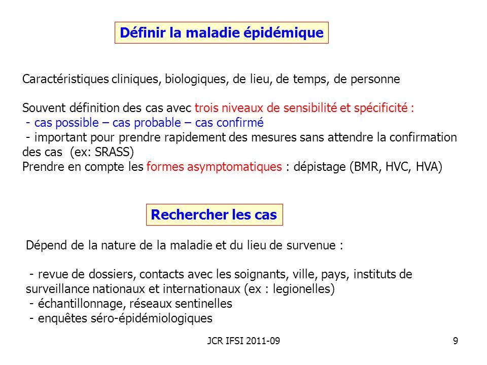 JCR IFSI 2011-0920 Caractéristiques de lieu Épidémie communautaire de légionellose : représentation géographique des cas selon la zone de résidence, de travail ou de déplacement.