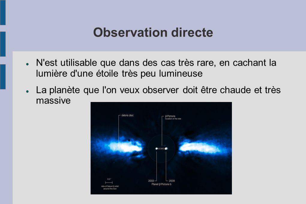 Observation directe N'est utilisable que dans des cas très rare, en cachant la lumière d'une étoile très peu lumineuse La planète que l'on veux observ