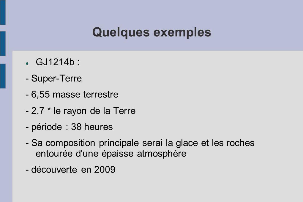 Quelques exemples GJ1214b : - Super-Terre - 6,55 masse terrestre - 2,7 * le rayon de la Terre - période : 38 heures - Sa composition principale serai