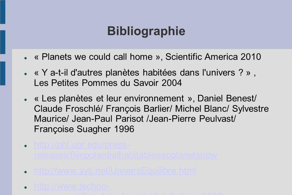 Bibliographie « Planets we could call home », Scientific America 2010 « Y a-t-il d'autres planètes habitées dans l'univers ? », Les Petites Pommes du