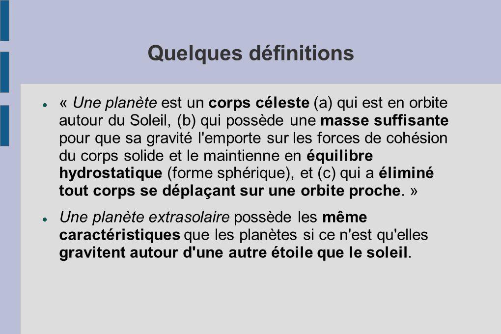Quelques définitions « Une planète est un corps céleste (a) qui est en orbite autour du Soleil, (b) qui possède une masse suffisante pour que sa gravi