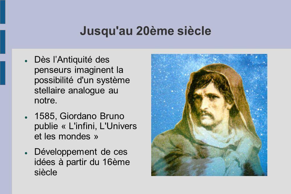 Jusqu'au 20ème siècle Dès lAntiquité des penseurs imaginent la possibilité d'un système stellaire analogue au notre. 1585, Giordano Bruno publie « L'i
