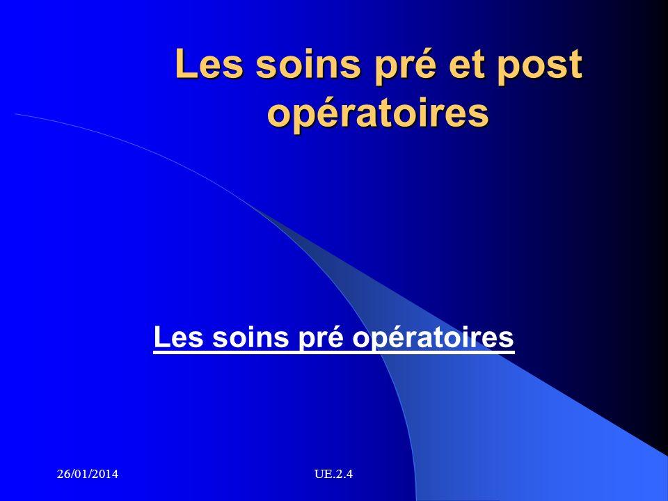 Les soins pré et post opératoires Les soins pré opératoires 26/01/2014UE.2.4