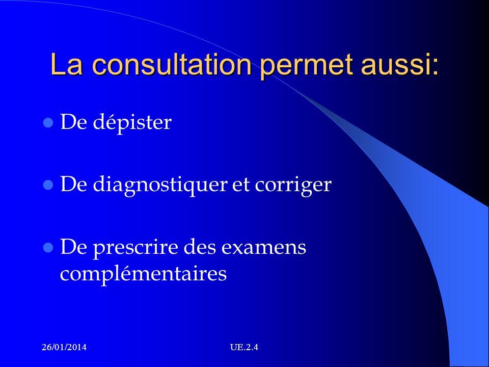 La consultation permet aussi: De dépister De diagnostiquer et corriger De prescrire des examens complémentaires 26/01/2014UE.2.4