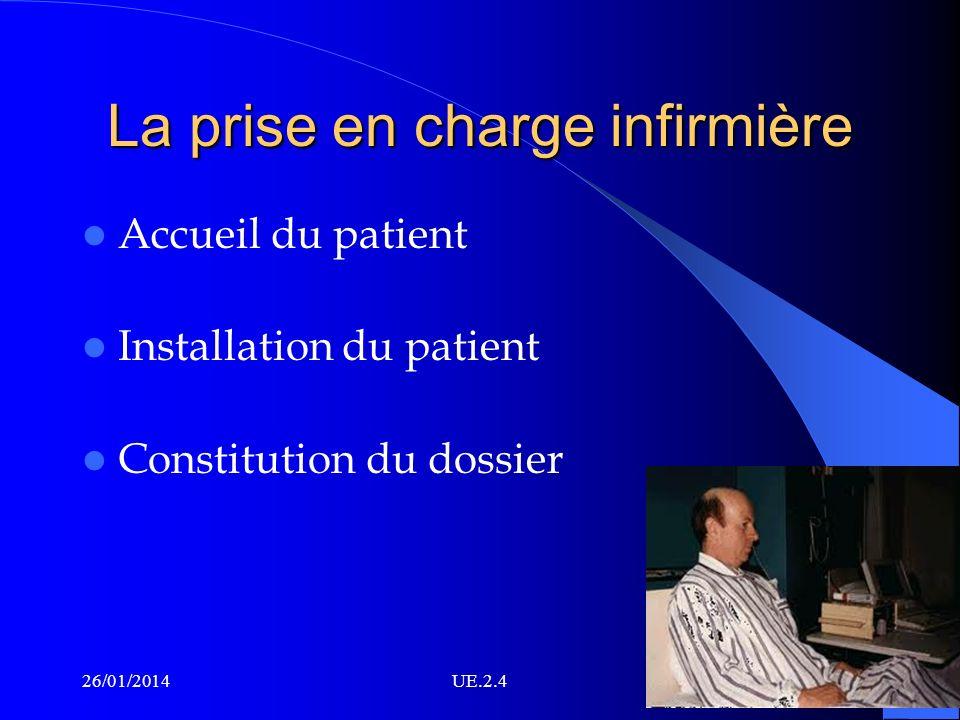 La prise en charge infirmière Accueil du patient Installation du patient Constitution du dossier 26/01/2014UE.2.4