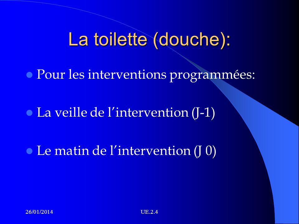La toilette (douche): Pour les interventions programmées: La veille de lintervention (J-1) Le matin de lintervention (J 0) 26/01/2014UE.2.4