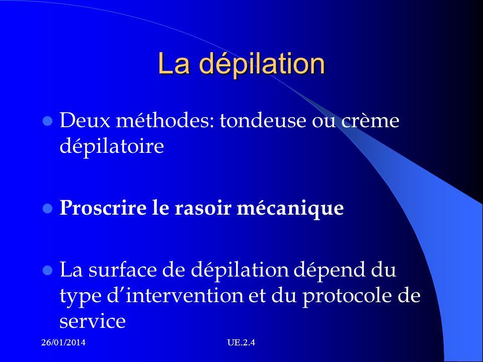 La dépilation Deux méthodes: tondeuse ou crème dépilatoire Proscrire le rasoir mécanique La surface de dépilation dépend du type dintervention et du p