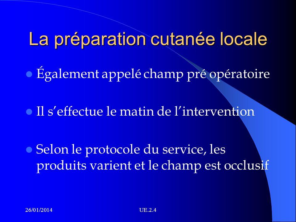 La préparation cutanée locale Également appelé champ pré opératoire Il seffectue le matin de lintervention Selon le protocole du service, les produits