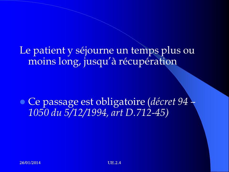 Le patient y séjourne un temps plus ou moins long, jusquà récupération Ce passage est obligatoire ( décret 94 – 1050 du 5/12/1994, art D.712-45) 26/01