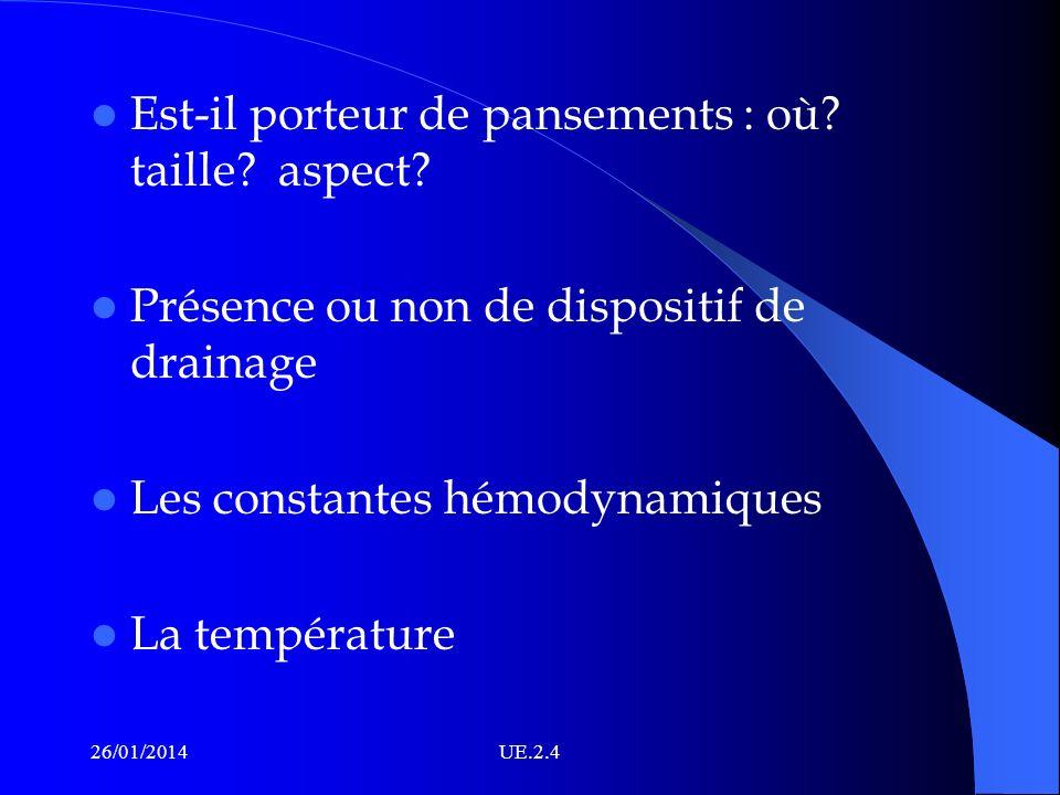 Est-il porteur de pansements : où? taille? aspect? Présence ou non de dispositif de drainage Les constantes hémodynamiques La température 26/01/2014UE