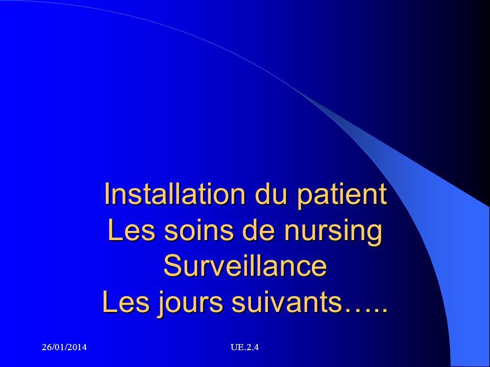 Installation du patient Les soins de nursing Surveillance Les jours suivants….. 26/01/2014UE.2.4