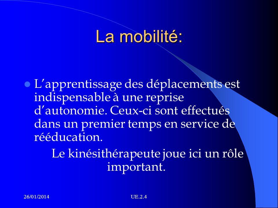 La mobilité: Lapprentissage des déplacements est indispensable à une reprise dautonomie. Ceux-ci sont effectués dans un premier temps en service de ré