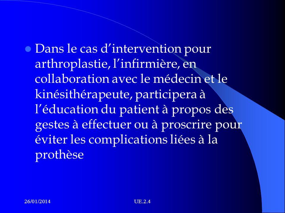 Dans le cas dintervention pour arthroplastie, linfirmière, en collaboration avec le médecin et le kinésithérapeute, participera à léducation du patien
