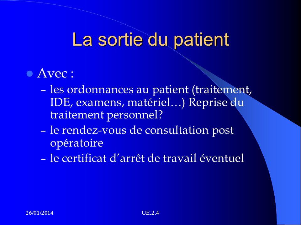 La sortie du patient Avec : – les ordonnances au patient (traitement, IDE, examens, matériel…) Reprise du traitement personnel? – le rendez-vous de co