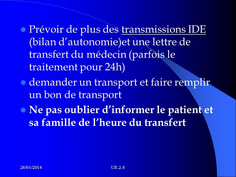 Prévoir de plus des transmissions IDE (bilan dautonomie)et une lettre de transfert du médecin (parfois le traitement pour 24h) demander un transport e