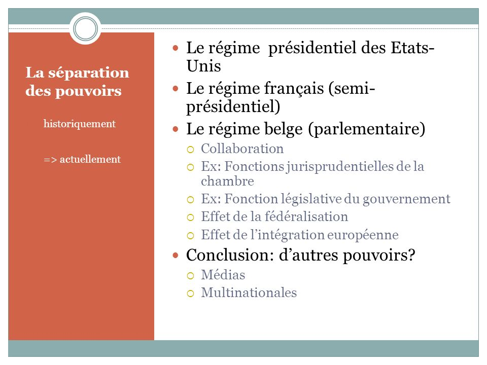 La séparation des pouvoirs 1.historiquement 2.