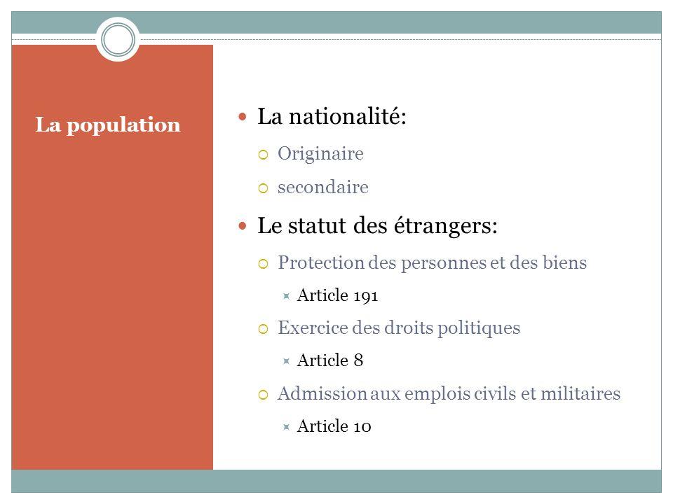 La population La nationalité: Originaire secondaire Le statut des étrangers: Protection des personnes et des biens Article 191 Exercice des droits politiques Article 8 Admission aux emplois civils et militaires Article 10