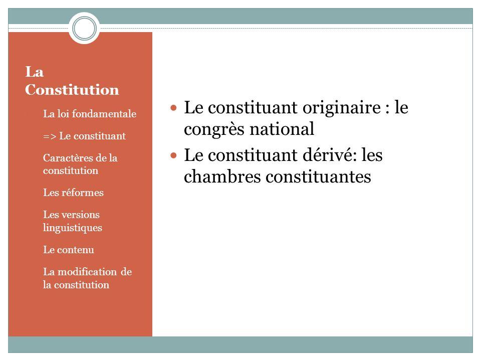 La Constitution 1.La loi fondamentale 2. => Le constituant 3.