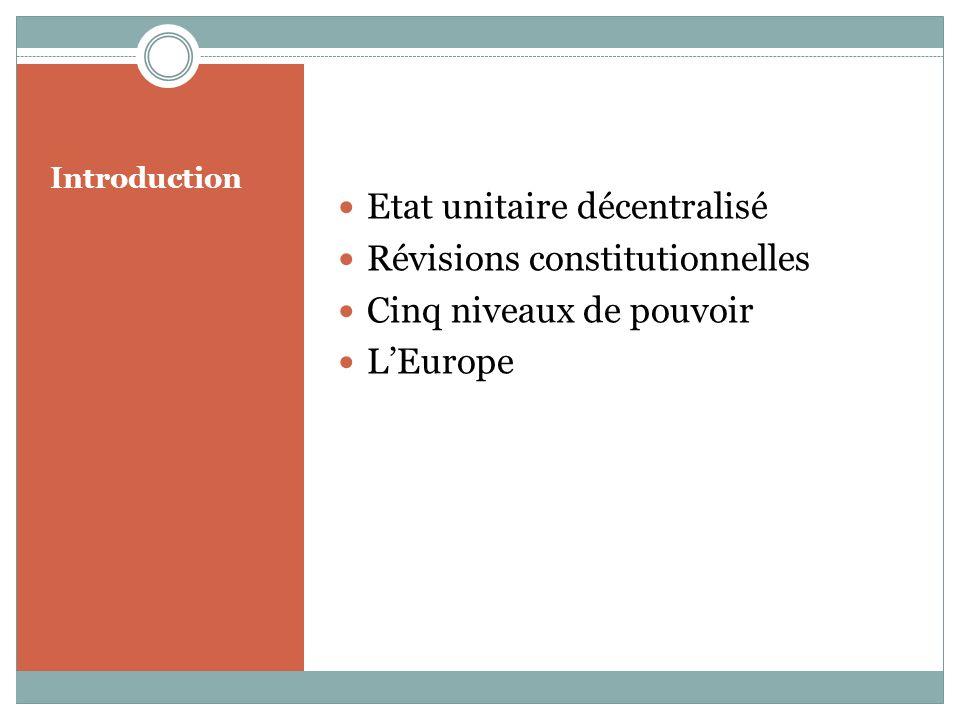 Introduction Etat unitaire décentralisé Révisions constitutionnelles Cinq niveaux de pouvoir LEurope