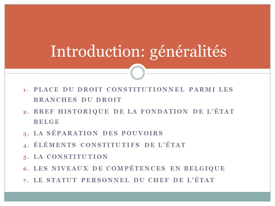 1.PLACE DU DROIT CONSTITUTIONNEL PARMI LES BRANCHES DU DROIT 2.