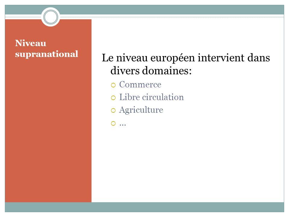 Niveau supranational Le niveau européen intervient dans divers domaines: Commerce Libre circulation Agriculture …
