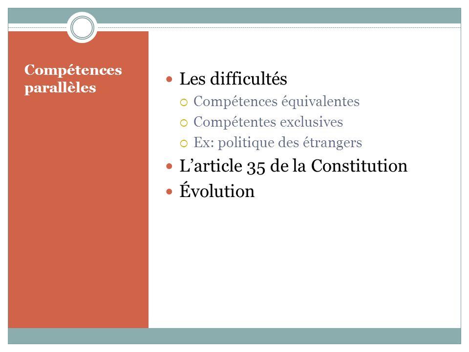 Compétences parallèles Les difficultés Compétences équivalentes Compétentes exclusives Ex: politique des étrangers Larticle 35 de la Constitution Évolution