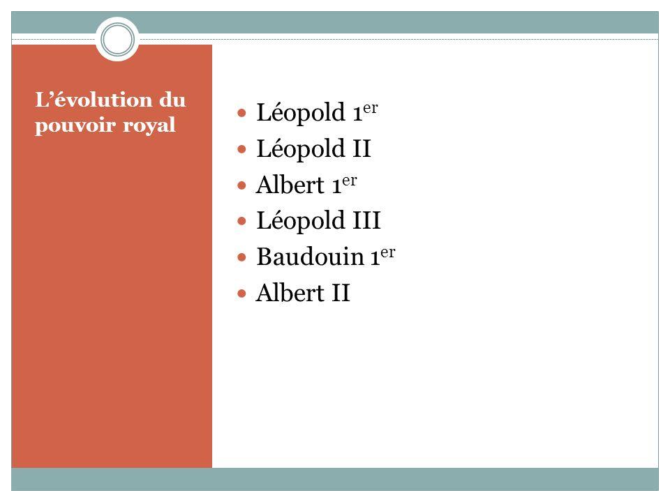Lévolution du pouvoir royal Léopold 1 er Léopold II Albert 1 er Léopold III Baudouin 1 er Albert II