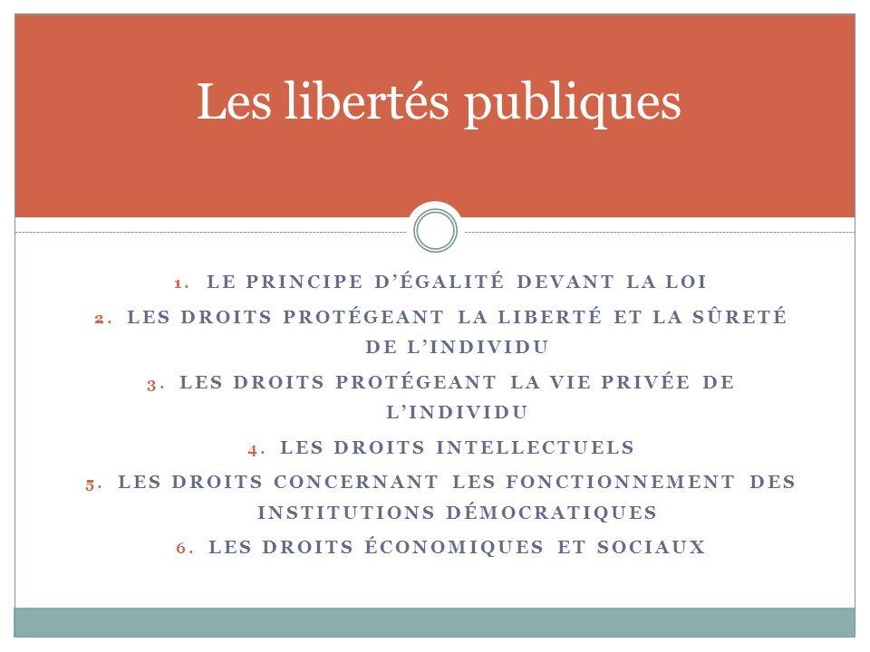 1.LE PRINCIPE DÉGALITÉ DEVANT LA LOI 2.