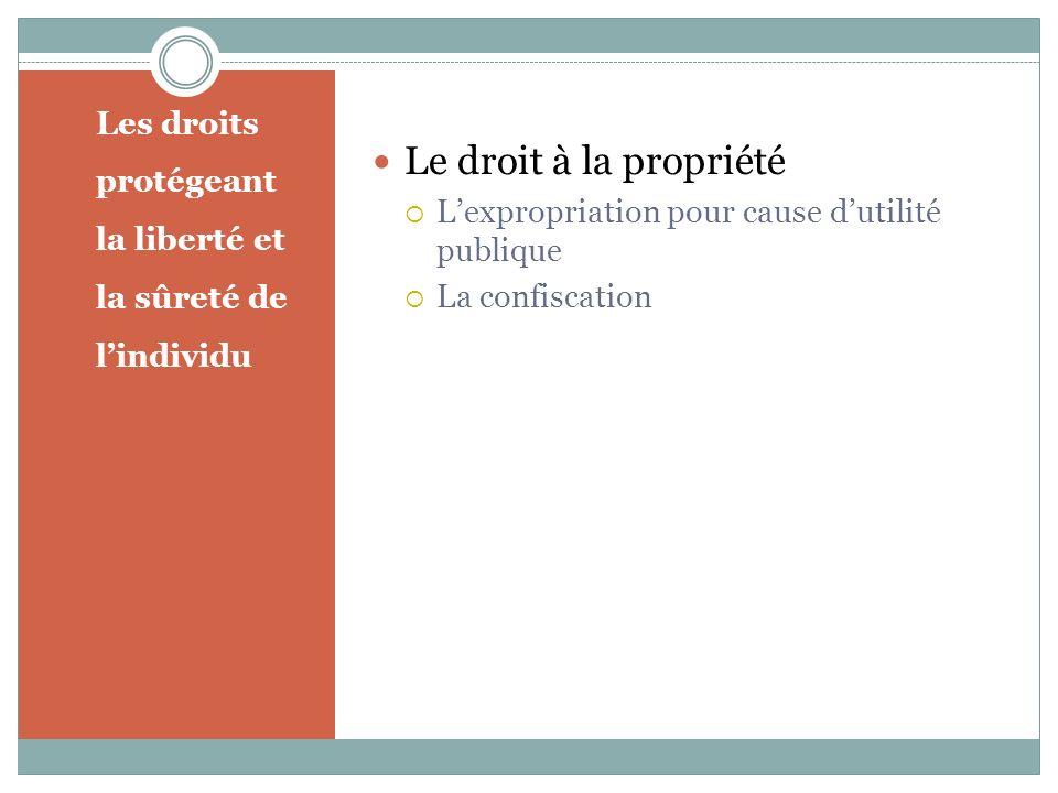 Les droits protégeant la liberté et la sûreté de lindividu Le droit à la propriété Lexpropriation pour cause dutilité publique La confiscation
