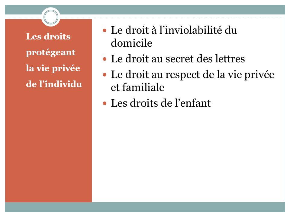 Les droits protégeant la vie privée de lindividu Le droit à linviolabilité du domicile Le droit au secret des lettres Le droit au respect de la vie privée et familiale Les droits de lenfant
