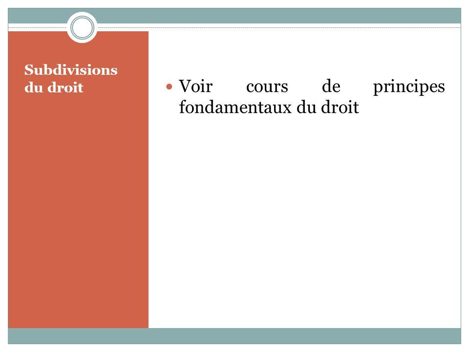 Subdivisions du droit Voir cours de principes fondamentaux du droit