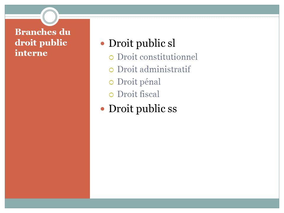 Branches du droit public interne Droit public sl Droit constitutionnel Droit administratif Droit pénal Droit fiscal Droit public ss
