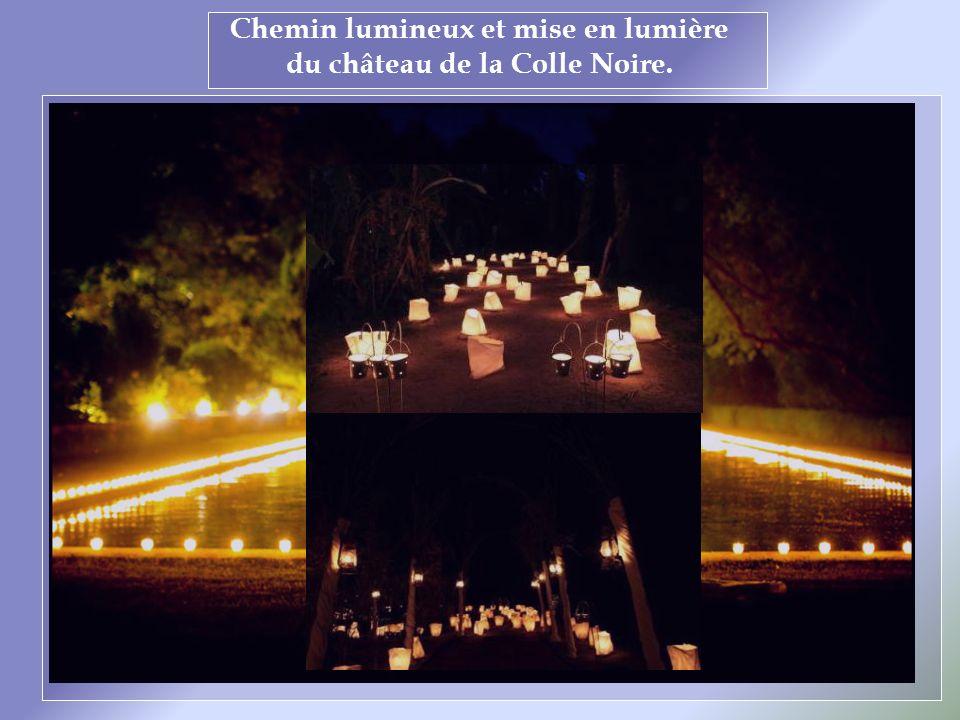 Chemin lumineux et mise en lumière du château de la Colle Noire.
