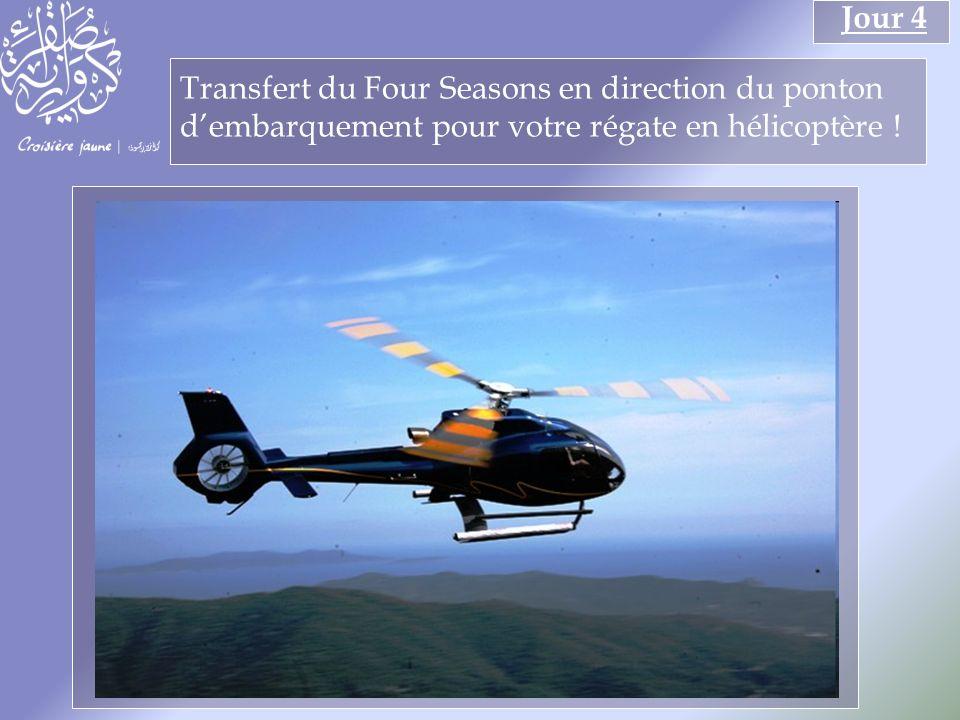 Transfert du Four Seasons en direction du ponton dembarquement pour votre régate en hélicoptère .