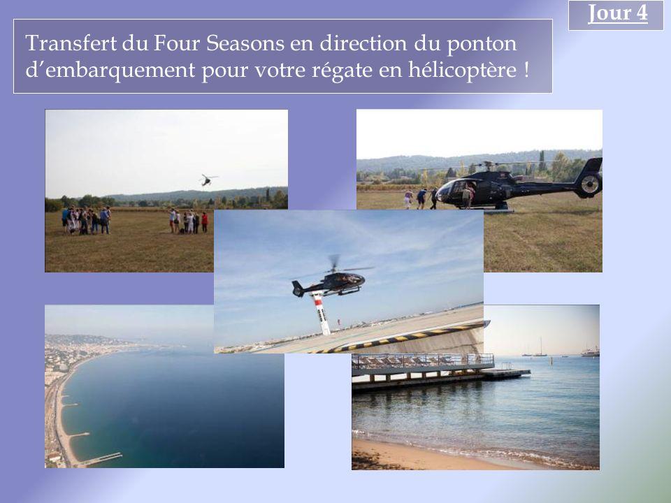 Transfert du Four Seasons en direction du ponton dembarquement pour votre régate en hélicoptère !