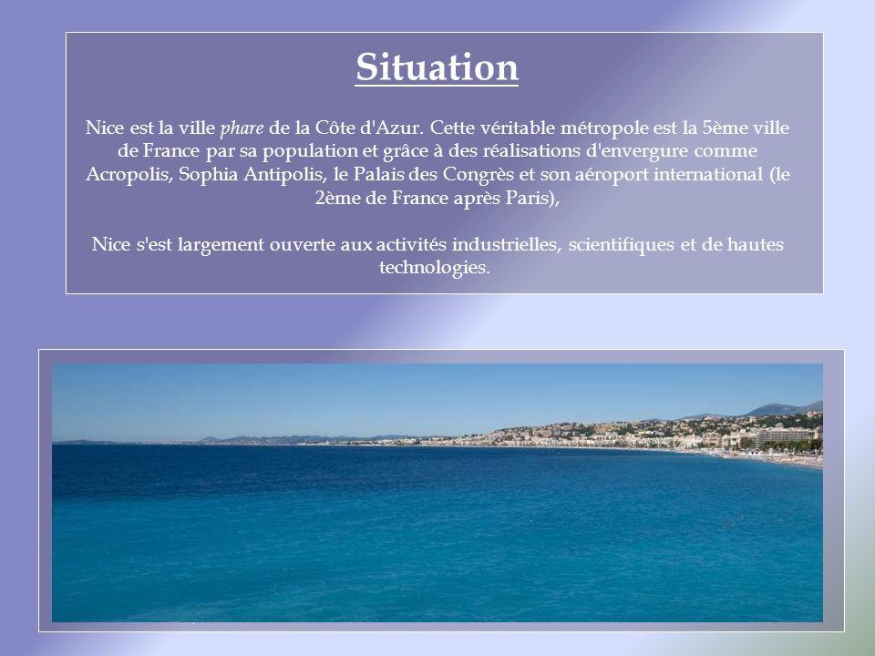 Situation Nice est la ville phare de la Côte d Azur.