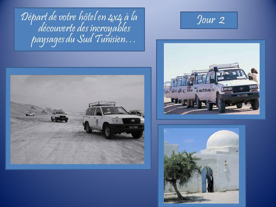 Départ de votre hôtel en 4x4 à la découverte des incroyables paysages du Sud Tunisien… Jour 2