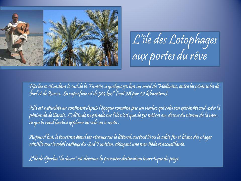 Lîle des Lotophages aux portes du rêve Djerba se situe dans le sud de la Tunisie, à quelque 50 km au nord de Médenine, entre les péninsules de Jorf et de Zarzis.
