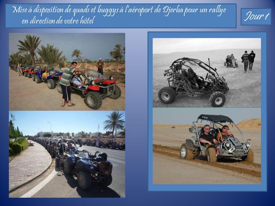Mise à disposition de quads et buggys à laéroport de Djerba pour un rallye en direction de votre hôtel Jour 1