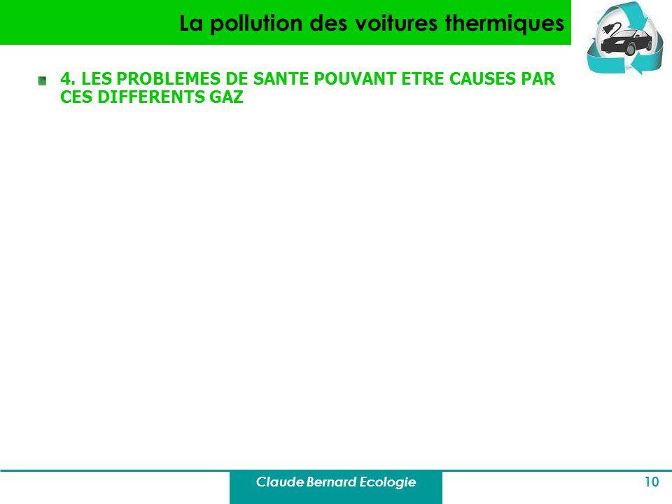 Claude Bernard Ecologie 10 La pollution des voitures thermiques 4. LES PROBLEMES DE SANTE POUVANT ETRE CAUSES PAR CES DIFFERENTS GAZ