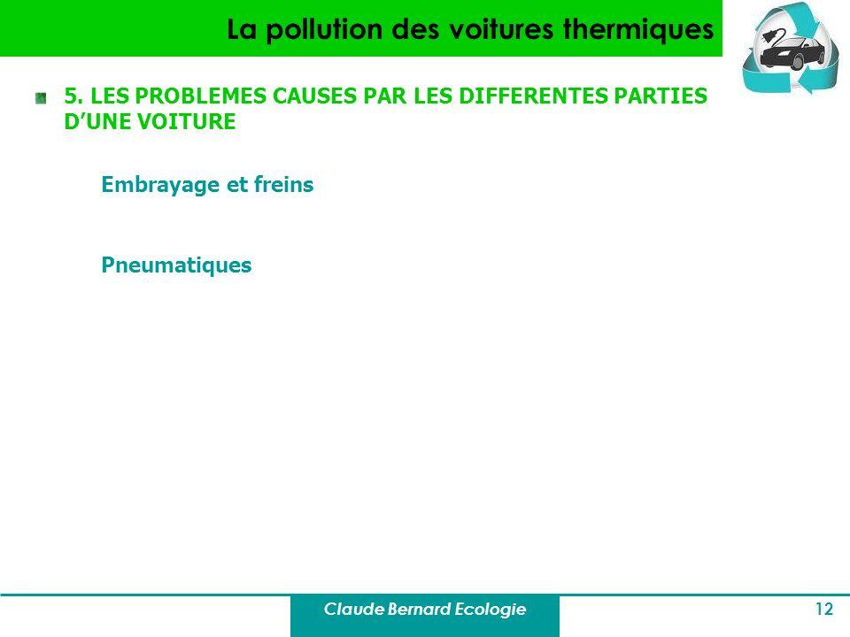 Claude Bernard Ecologie 12 La pollution des voitures thermiques 5. LES PROBLEMES CAUSES PAR LES DIFFERENTES PARTIES DUNE VOITURE Embrayage et freins P