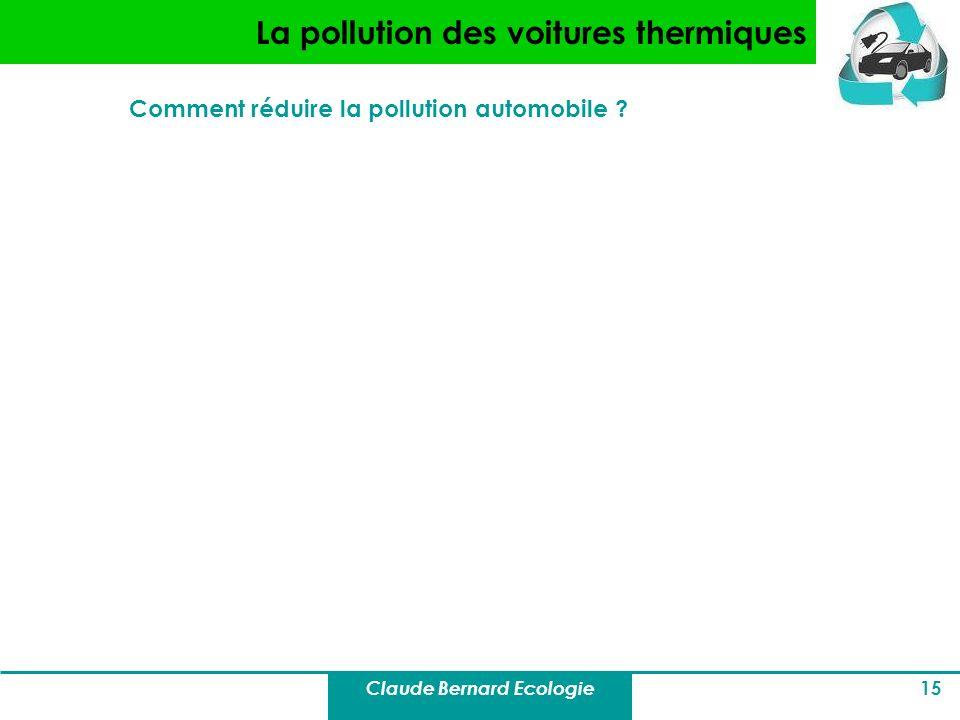 Claude Bernard Ecologie 15 La pollution des voitures thermiques Comment réduire la pollution automobile ?
