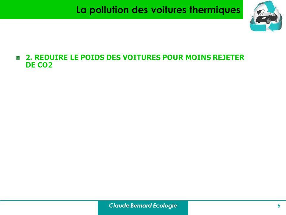 Claude Bernard Ecologie 6 La pollution des voitures thermiques 2. REDUIRE LE POIDS DES VOITURES POUR MOINS REJETER DE CO2