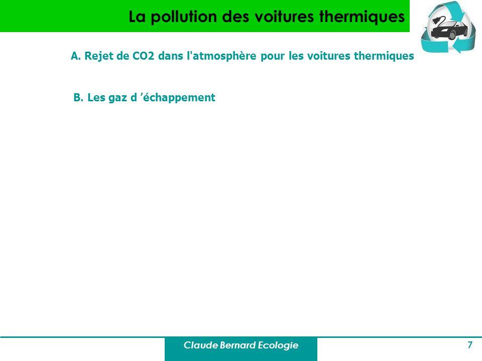 Claude Bernard Ecologie 7 La pollution des voitures thermiques A. Rejet de CO2 dans l'atmosphère pour les voitures thermiques B. Les gaz d échappement