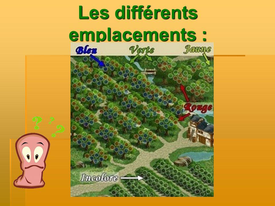 Les différents emplacements :